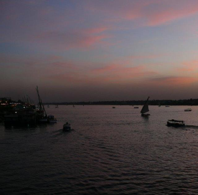 Faluka in the Nile at sunset (Luxor)