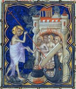 The Harrowing of Hell, from a fourteenth century manuscript, Anonymous